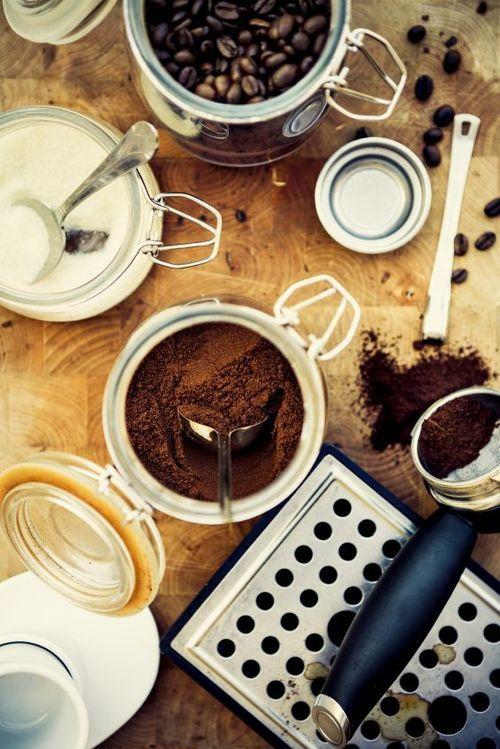 Preparing to make espresso coffee