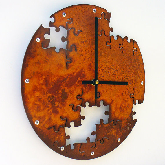 puzzle wall clock design unique clock