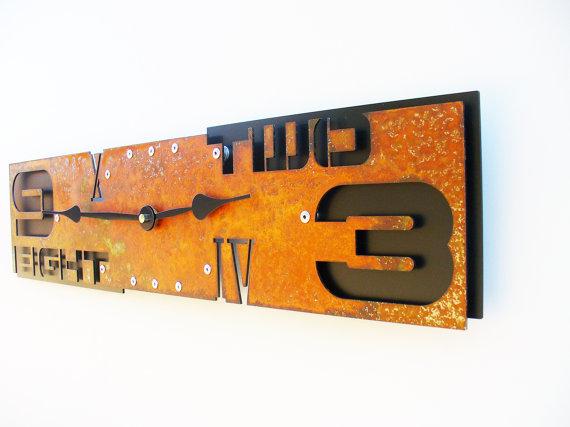 rust modern midcentury wall clock