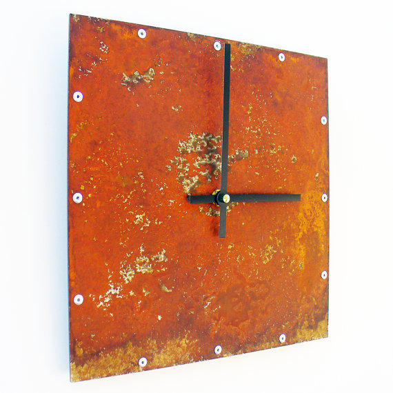 square wall clock rusted