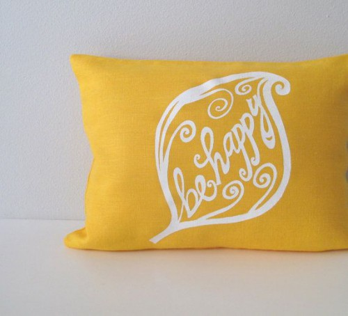 be happy mustard leaf pillow cover