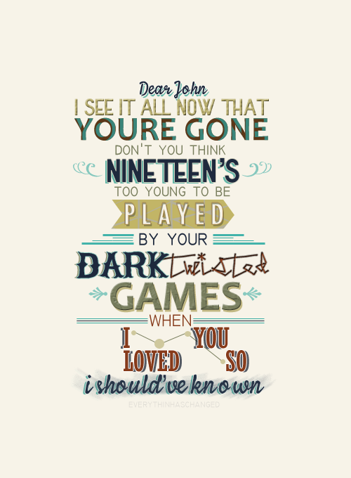 dear john lyrics typography graphic print