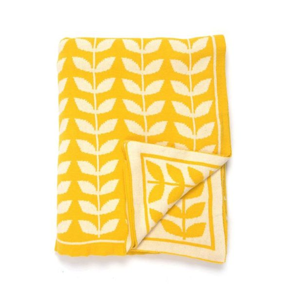 leafy yellow reversible throw