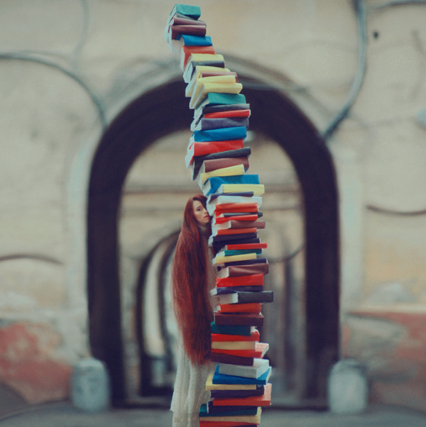 leaning tower of books
