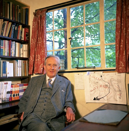 tolkein in his library