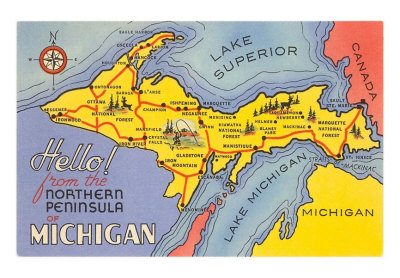 mi-00485-c_map-of-the-upper-peninsula-michigan-posters