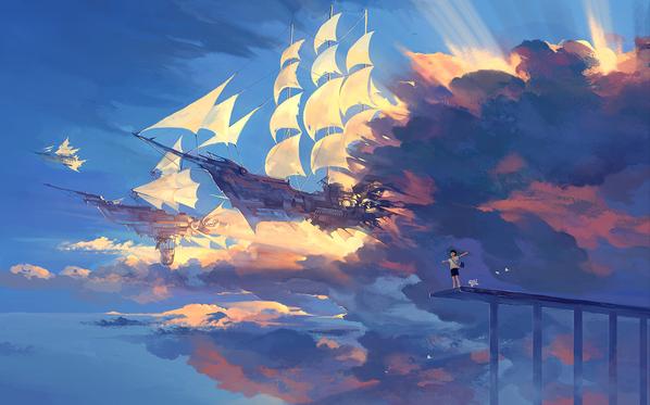 airship steampunk illustration