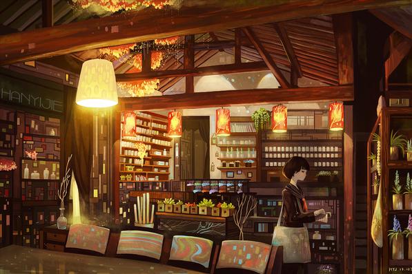 bookstore illustration