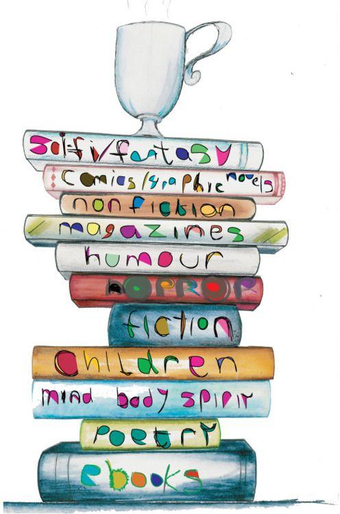 illustrated book pile via coffeeandirony