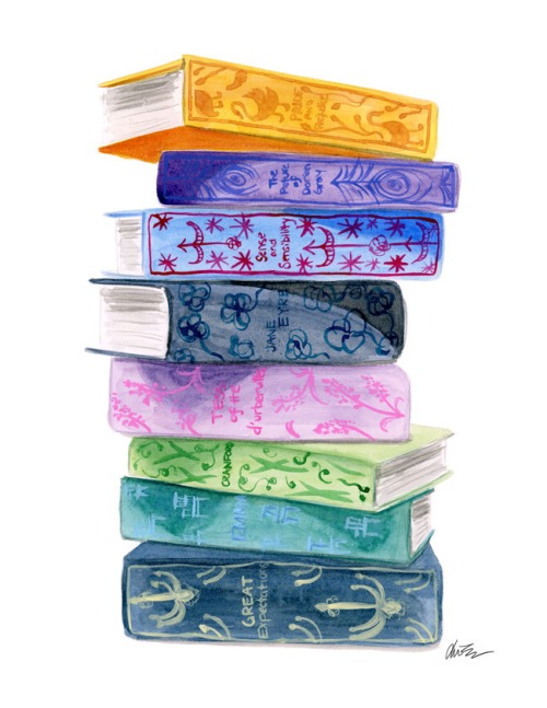 illustrated book stack