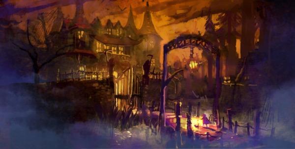 spooky mansion landscape illustration