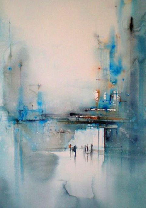 rainy day pastel painting