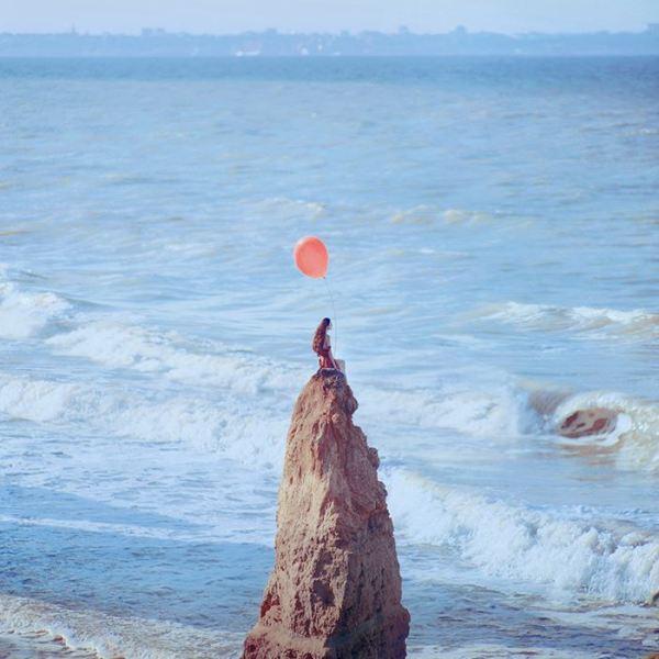 sea salt freedom girl on shore