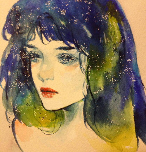 Sparkly blue hair girl watercolor sketch