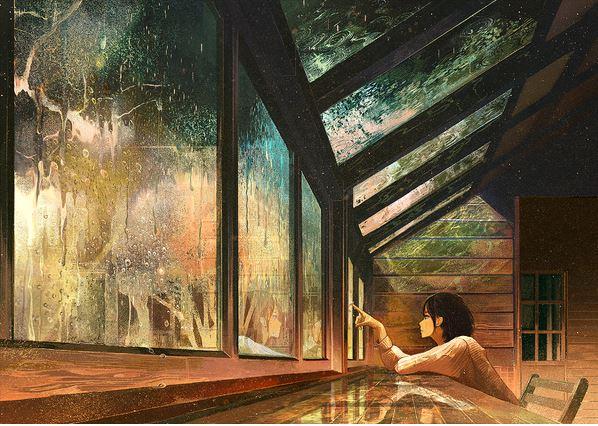 Japanese illustration wistful rain