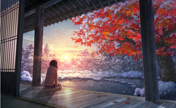 Digital art snowfall Japanese winter