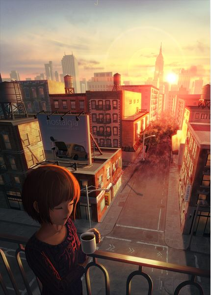Graphic art illustration girl looking over city at sunrise