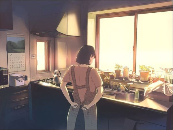 Mother in kitchen graphic art illustration