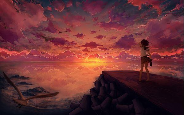 Red sky at night illustration