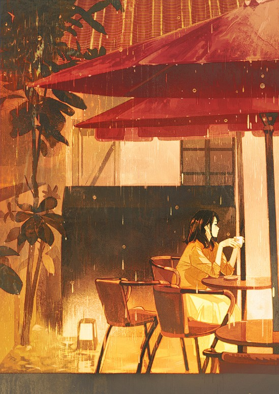 Anime girl sitting in the rain illustration (1)